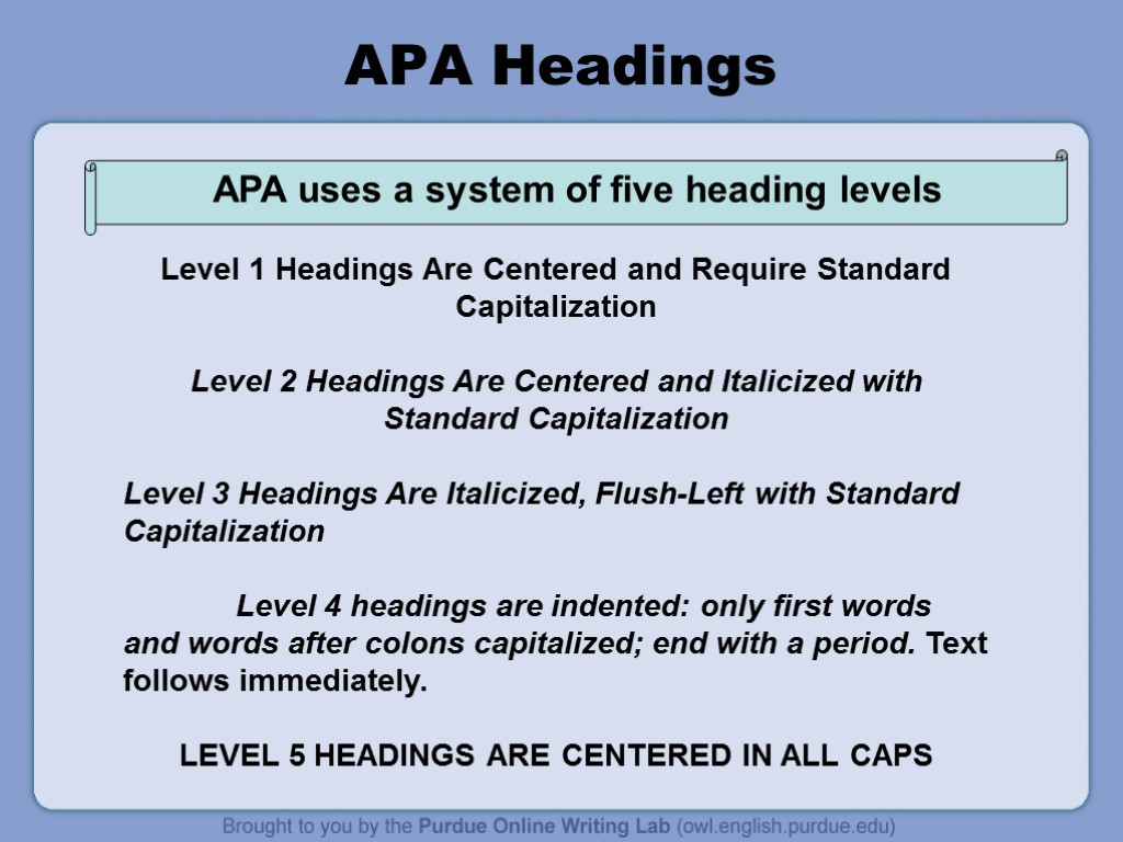 apa paper headings The heading) the best way to figure out how to format your paper using headings is to determine how many levels you will need and use the chart below five levels of heading in apa citation style level format 1 centered, boldface, uppercase and lowercase heading 2 flush left, boldface, uppercase and lowercase heading 3 indented.