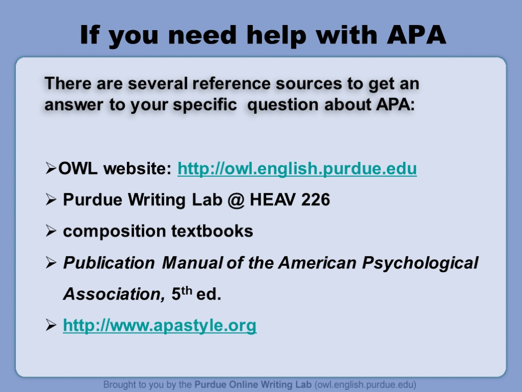 textbook apa format Apa style of formatting is based on indicating the author's last name and publication date of any resource you cite in your paper these indicators appear in both reference lists and in-text citation.