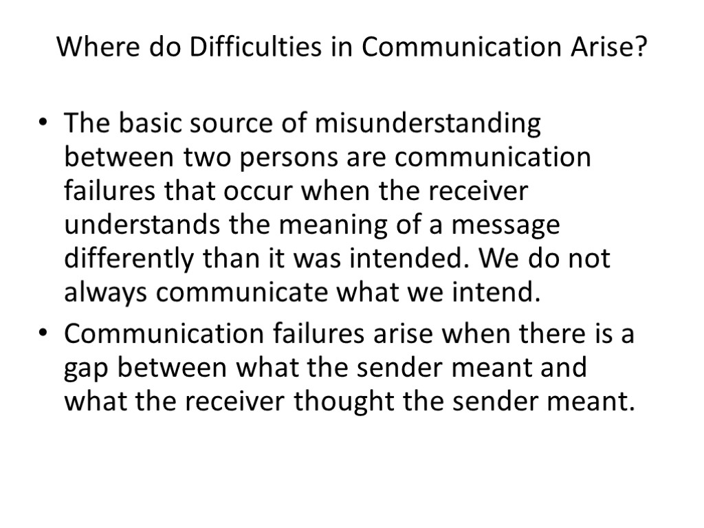 Where do Difficulties in Communication Arise? The basic source of misunderstanding between two persons