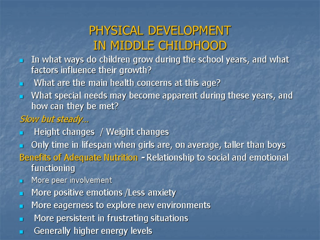 physical development Child development entails the biological, psychological and emotional changes that occur in human beings between birth and the end of adolescence, as the individual progresses from dependency to increasing autonomy it is a continuous process with a predictable sequence, yet having a unique course for every child.