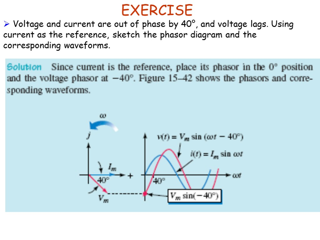 Foundation Of Electrical Engineering 2 Egr 213 Sinusoids Phasor Diagram A Sinusoidal Waveform Exercise Voltage And Current Are Out Phase By 40 Lags
