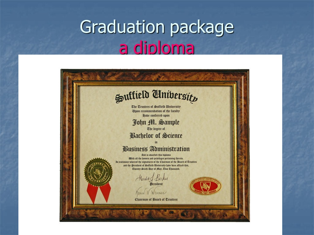 Graduation package a diploma