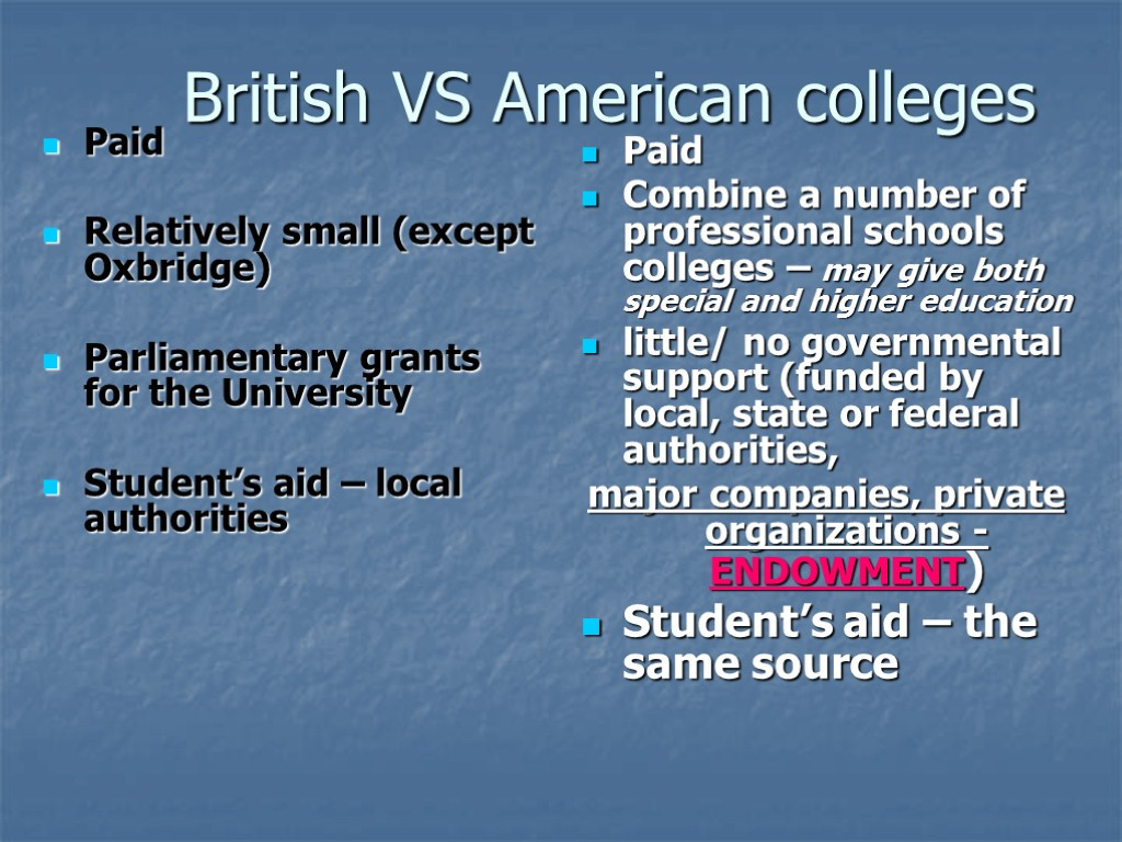 British VS American colleges Paid Relatively small (except Oxbridge) Parliamentary grants for the University