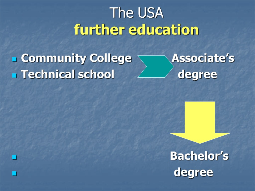 The USA further education Community College Associate's Technical school degree Bachelor's degree