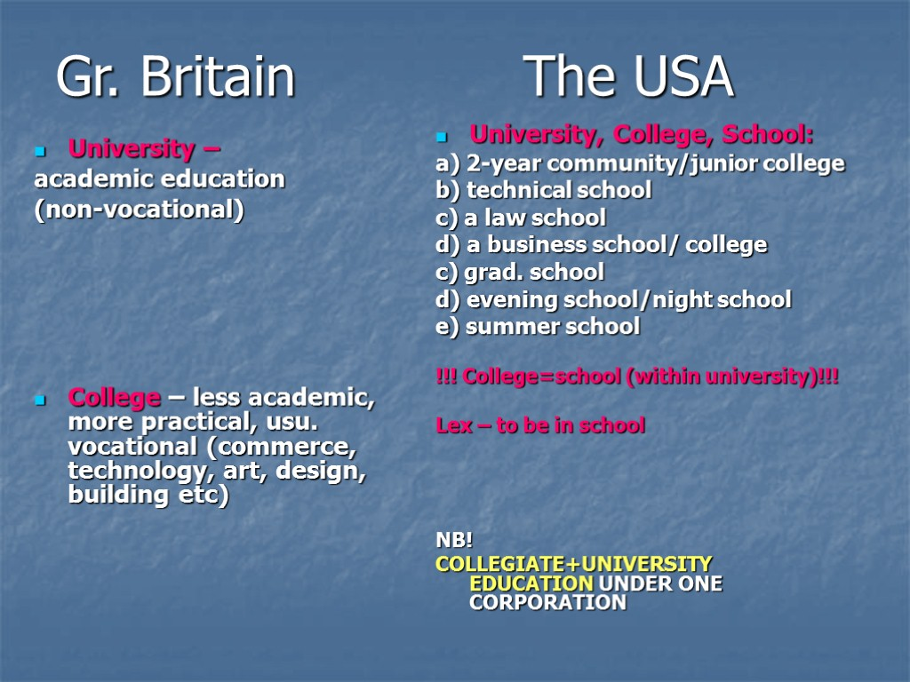 Gr. Britain The USA University – academic education (non-vocational) College – less academic, more