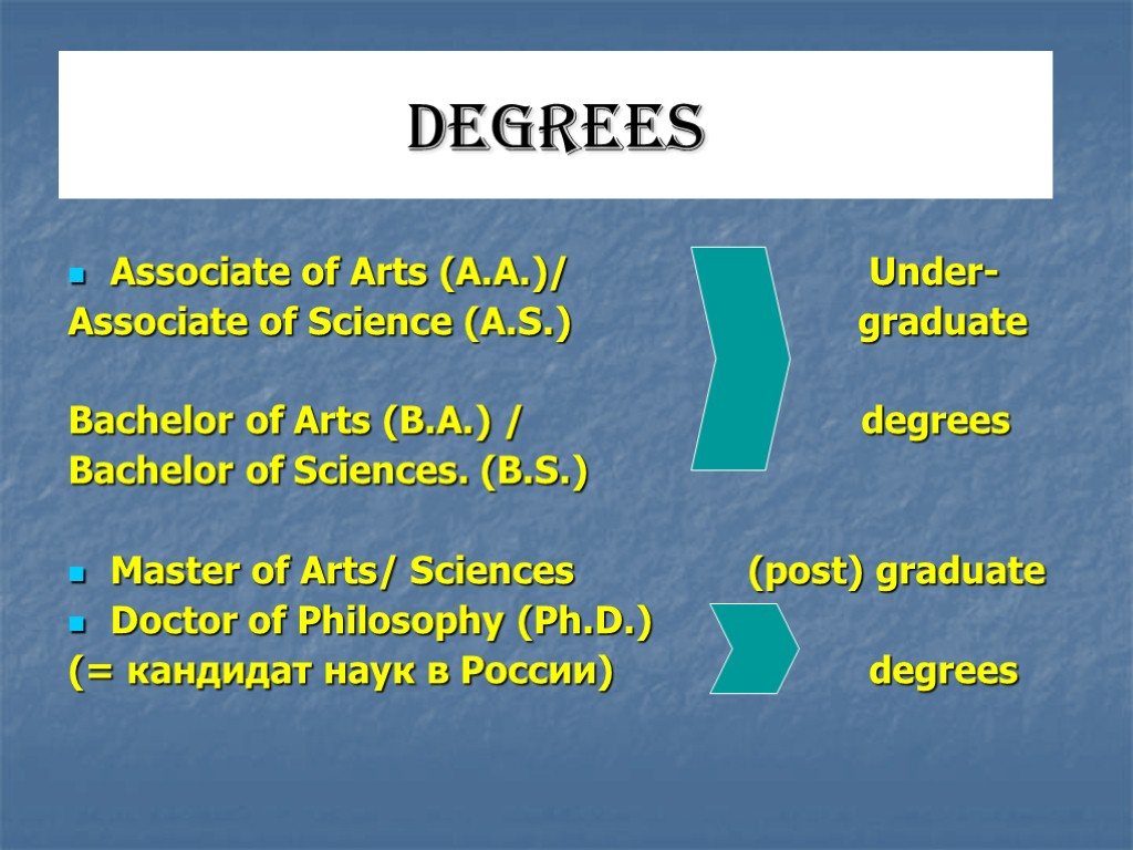 DEGREES Associate of Arts (A.A.)/ Under- Associate of Science (A.S.) graduate Bachelor of Arts