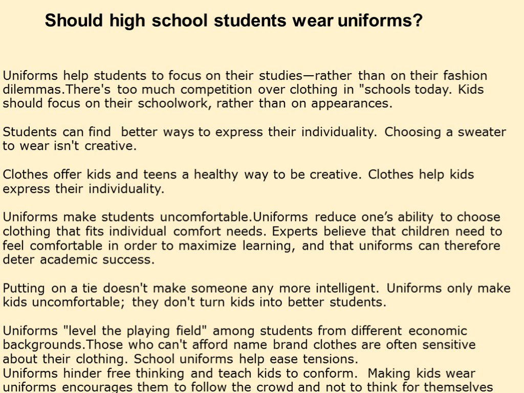 should school uniform be compulsory essay 10 reasons school uniforms are a bad idea and school uniforms should be banned in the past few years, more and more schools have been requiring their students to wear uniforms as many as one in eight american public schools have been implementing this policy.
