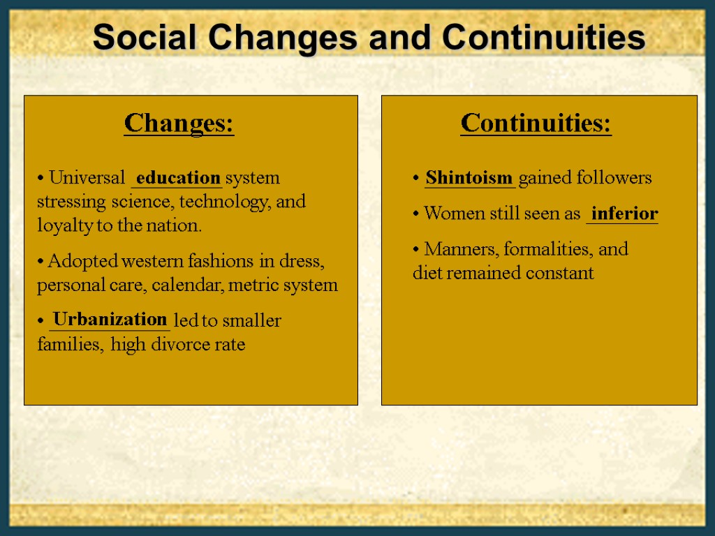 explain the change and continuity