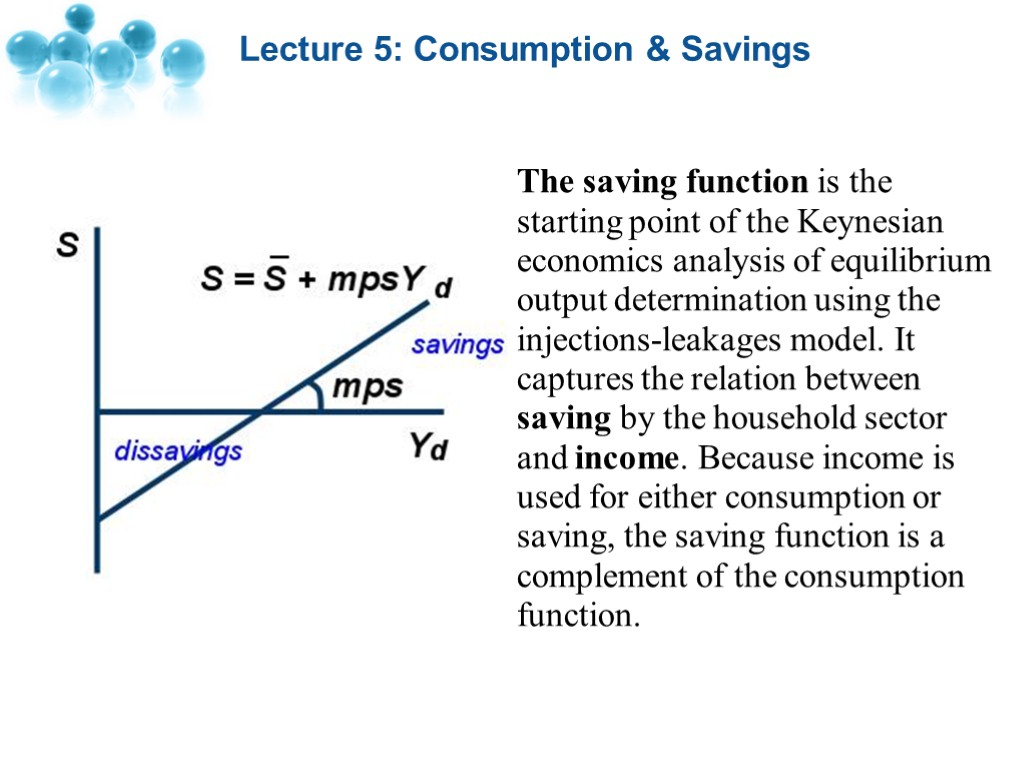 Lecture 5 consumption savings lecture 5 consumption lecture 5 consumption savings the saving function is the starting point of the pooptronica