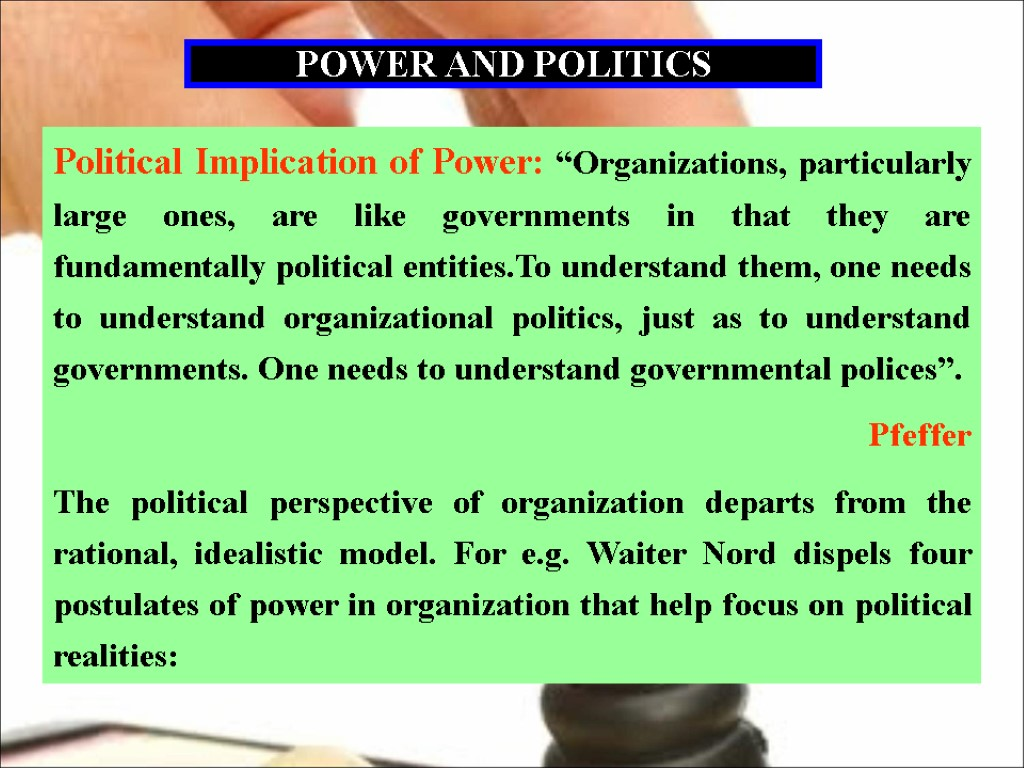 four perspectives on power in organizations