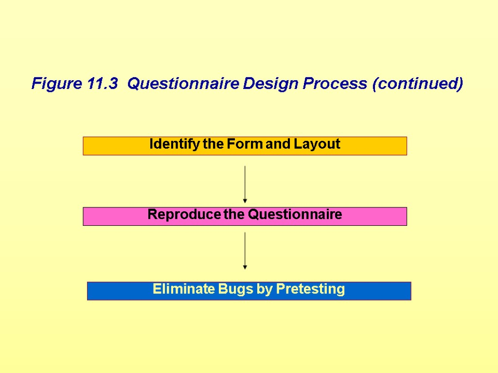 Identify the Form and Layout Reproduce the Questionnaire Eliminate Bugs by Pretesting Figure 11.3