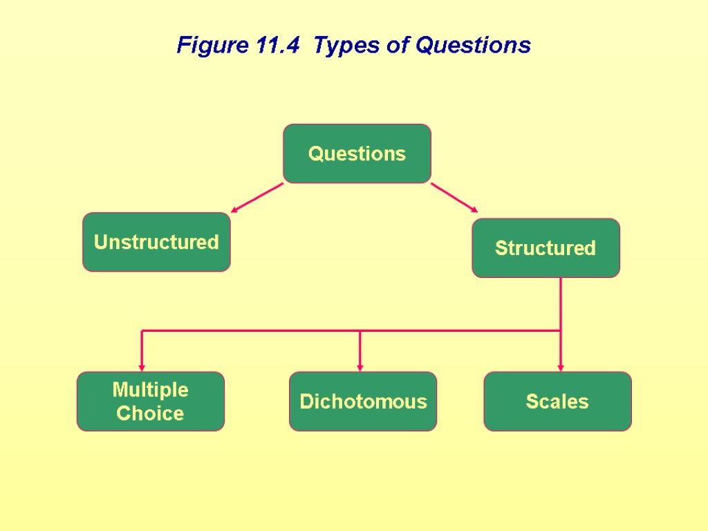 Figure 11.4 Types of Questions Unstructured Questions Structured Multiple Choice Dichotomous Scales Figure 11.4