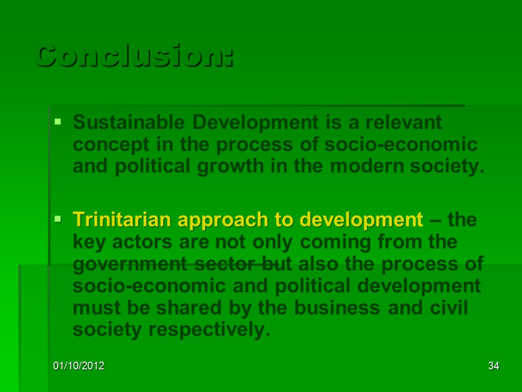 Conclusion Of Sustainable Development