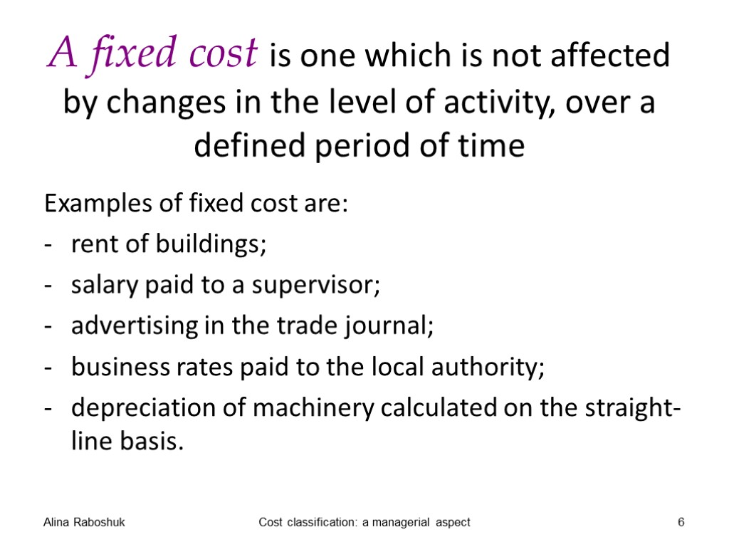 Classification Of Costs Managerial Aspect Alina V Raboshuk