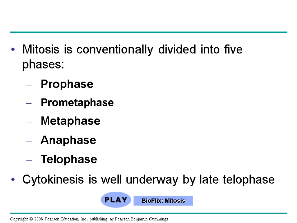 Mitosis is conventionally divided into five phases: Prophase Prometaphase Metaphase Anaphase Telophase Cytokinesis is
