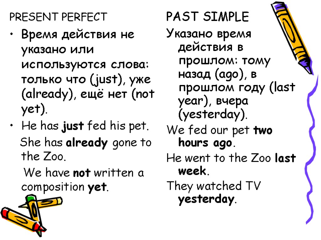 English Exercises PRESENT PERFECT or SIMPLE PAST