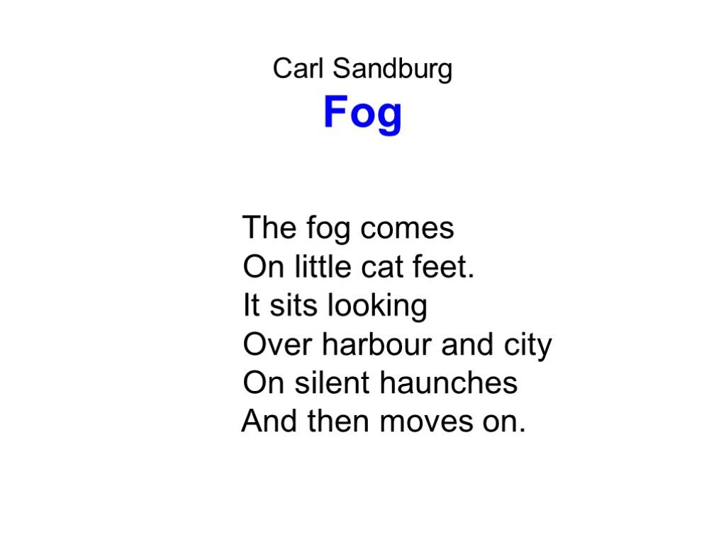essay on fog by carl sandburg