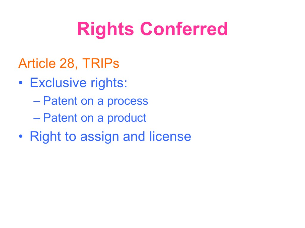 Rights Conferred Article 28, TRIPs Exclusive rights: Patent on a process Patent on a
