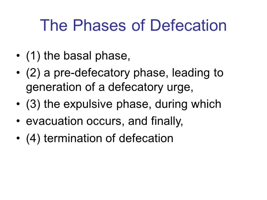 The Phases of Defecation (1) the basal phase, (2) a pre-defecatory phase, leading to