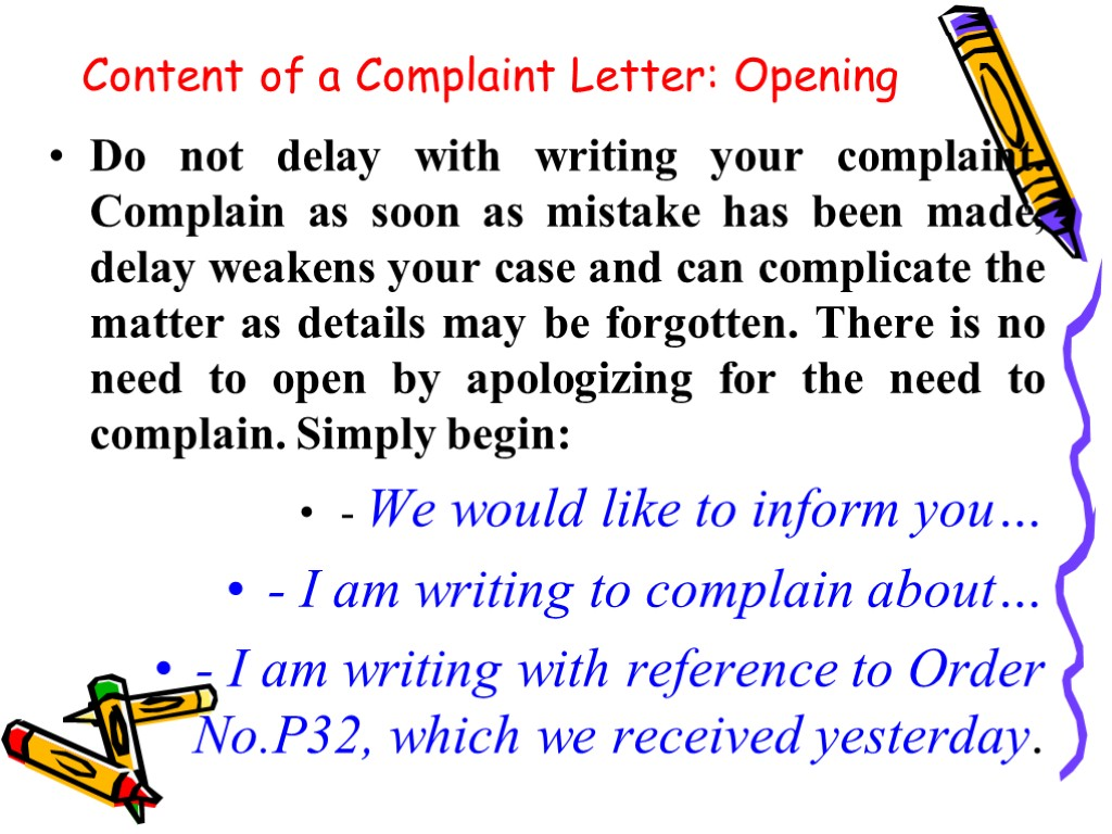 Complaint Letters Problem Questions Reasons For Writing A