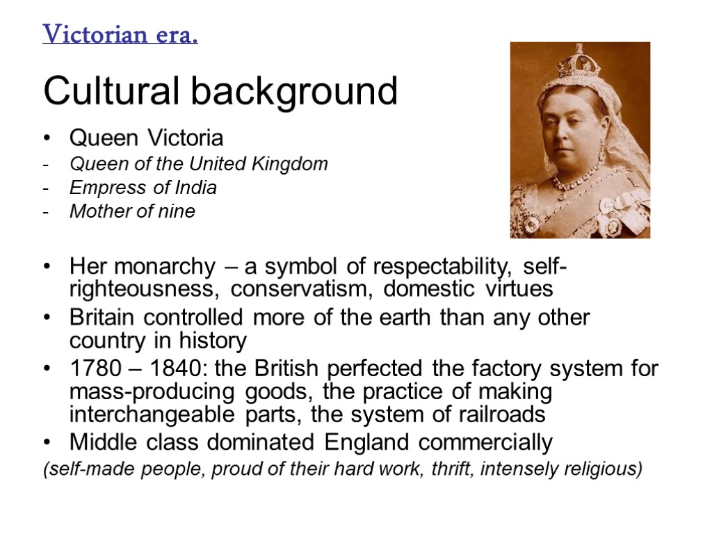 historical background of victorian age english literature essay Victorian literature is literature, mainly written in english, during the reign of queen victoria (1837-1901) (the victorian era) it was preceded by romanticism and followed by the edwardian era (1901-1910.