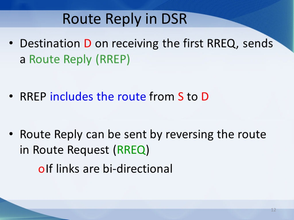 12 Route Reply in DSR Destination D on receiving the first RREQ, sends a
