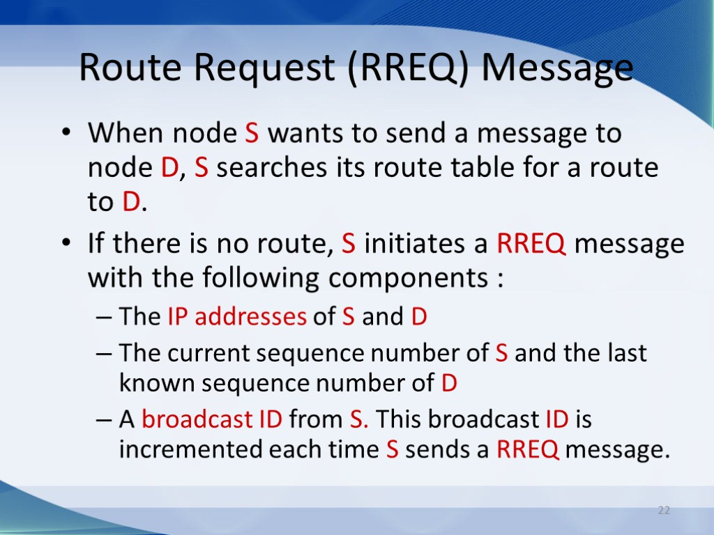 22 Route Request (RREQ) Message When node S wants to send a message to