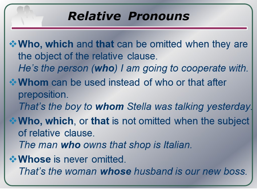 "relative clause In unit 6, we dealt with dependent clauses as introduced by subordinating conjunctions now we will deal with another type of dependent clause, the relative clause which is introduced with the german equivalent of ""which,"" ""that,"" ""who,"" ""whom,"" etc examples in."
