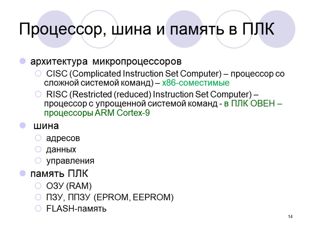 14 Процессор, шина и память в ПЛК архитектура микропроцессоров CISC (Complicated Instruction Set Computer)
