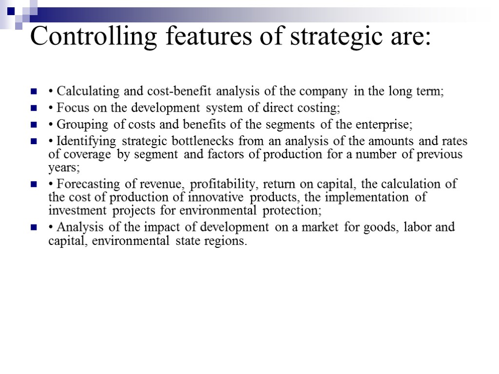 features of controlling in management
