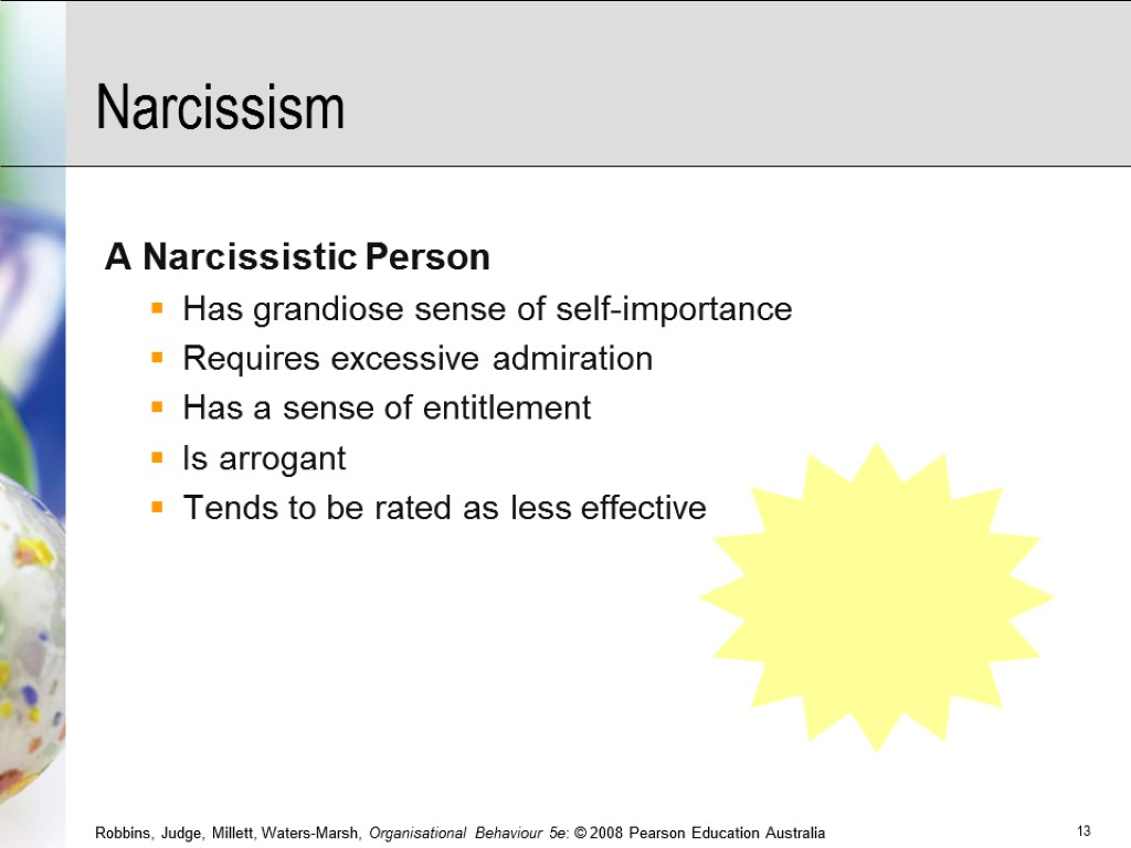 Narcissism A Narcissistic Person Has grandiose sense of self-importance Requires excessive admiration Has a
