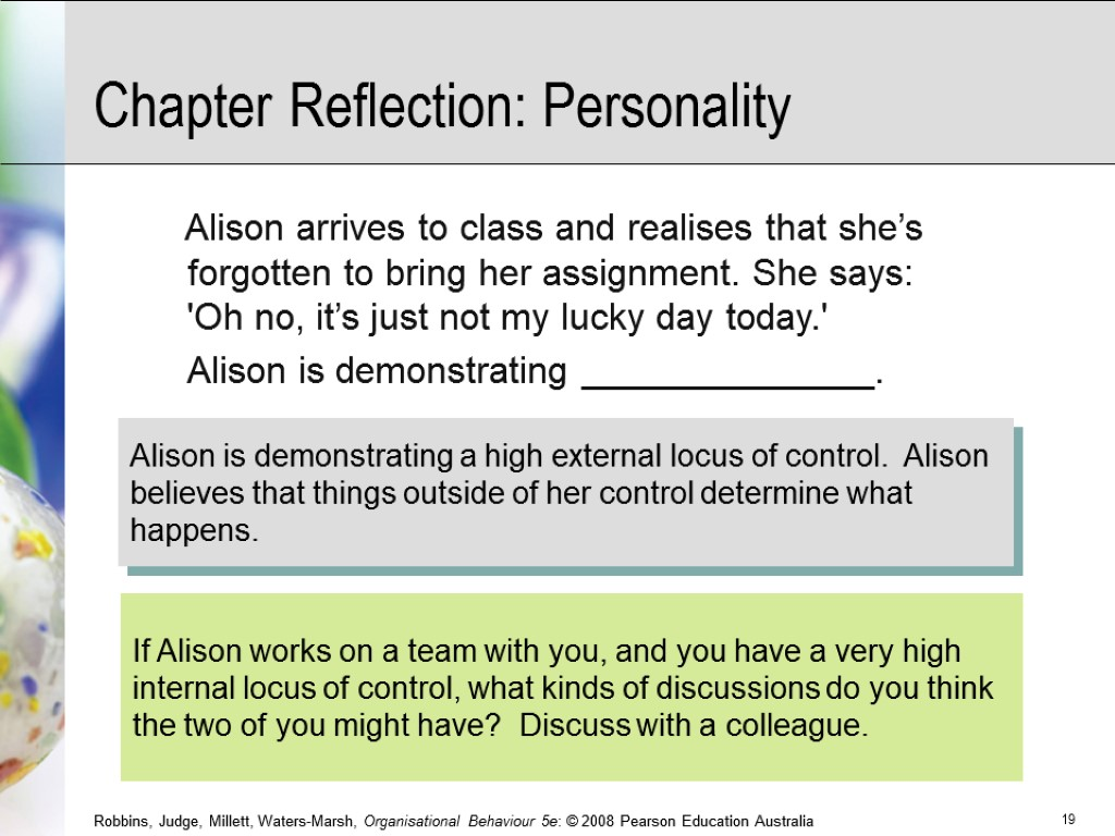 Alison arrives to class and realises that she's forgotten to bring her assignment. She