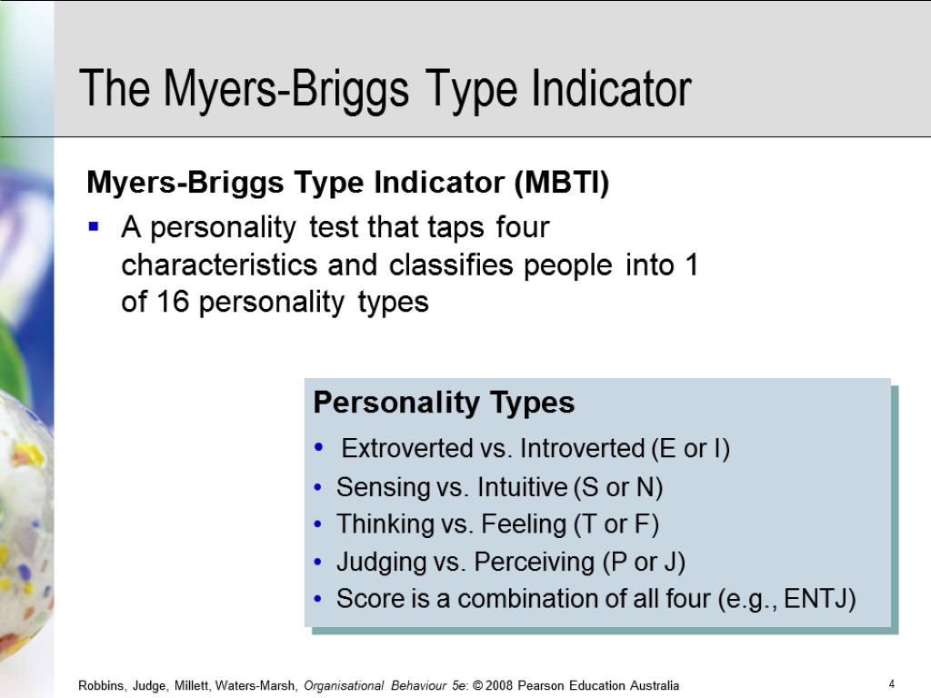 Personality Types Extroverted vs. Introverted (E or I) Sensing vs. Intuitive (S or N)