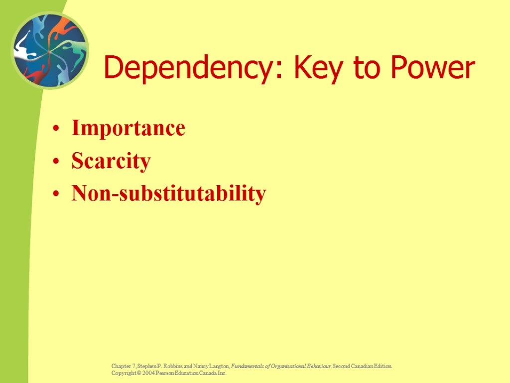 Dependency: Key to Power Importance Scarcity Non-substitutability