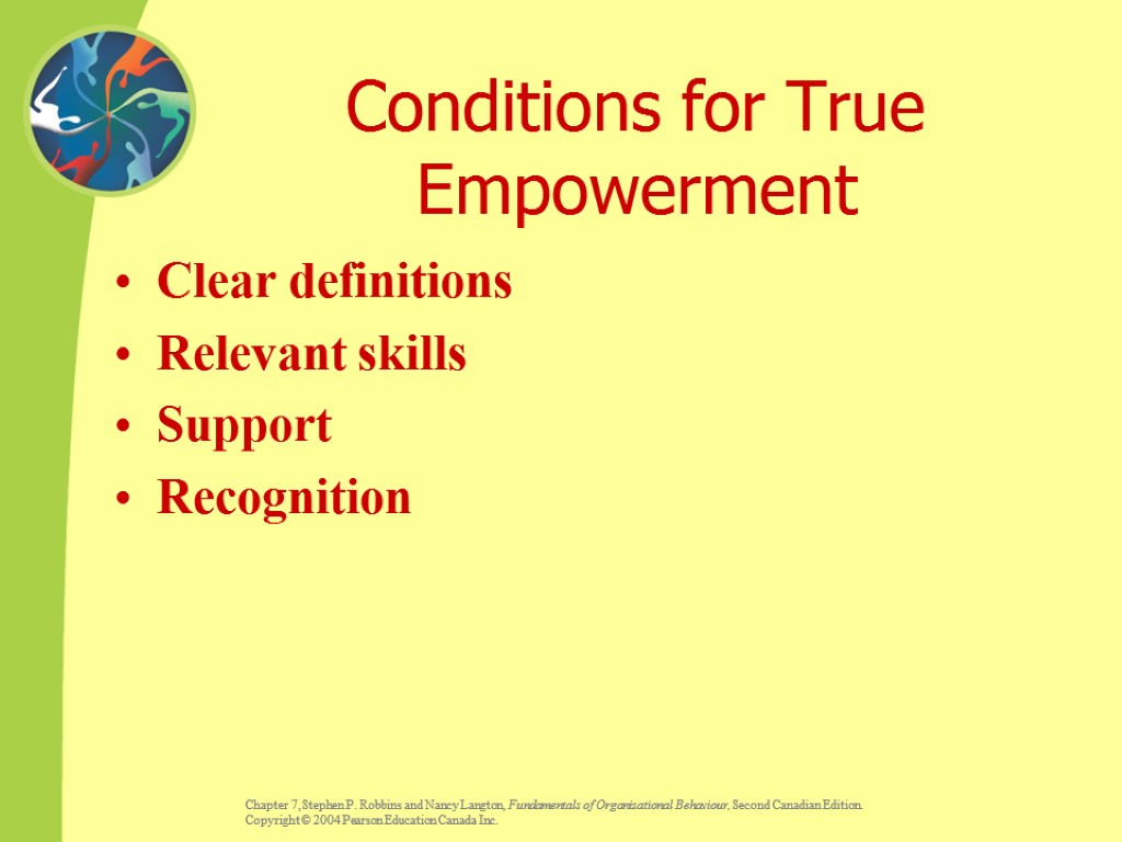 Conditions for True Empowerment Clear definitions Relevant skills Support Recognition