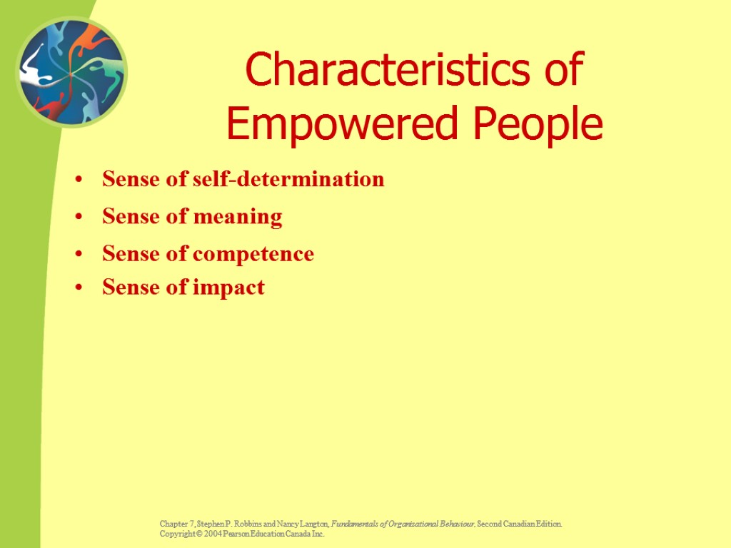 Characteristics of Empowered People Sense of self-determination Sense of meaning Sense of competence Sense