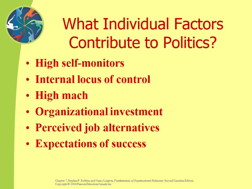 What Individual Factors Contribute to Politics? High self-monitors Internal locus of control High mach