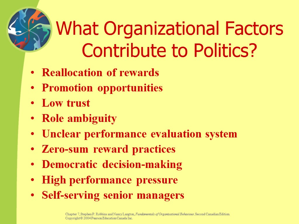 What Organizational Factors Contribute to Politics? Reallocation of rewards Promotion opportunities Low trust Role