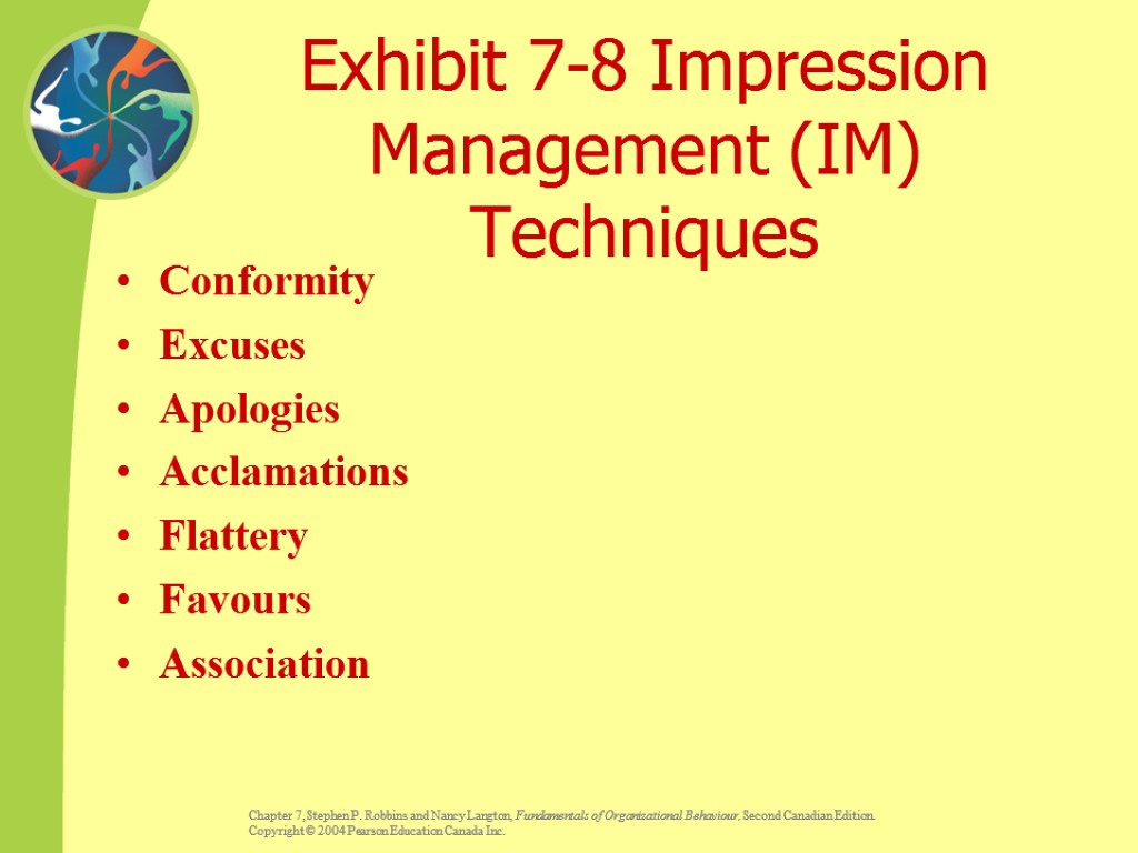 Exhibit 7-8 Impression Management (IM) Techniques Conformity Excuses Apologies Acclamations Flattery Favours Association