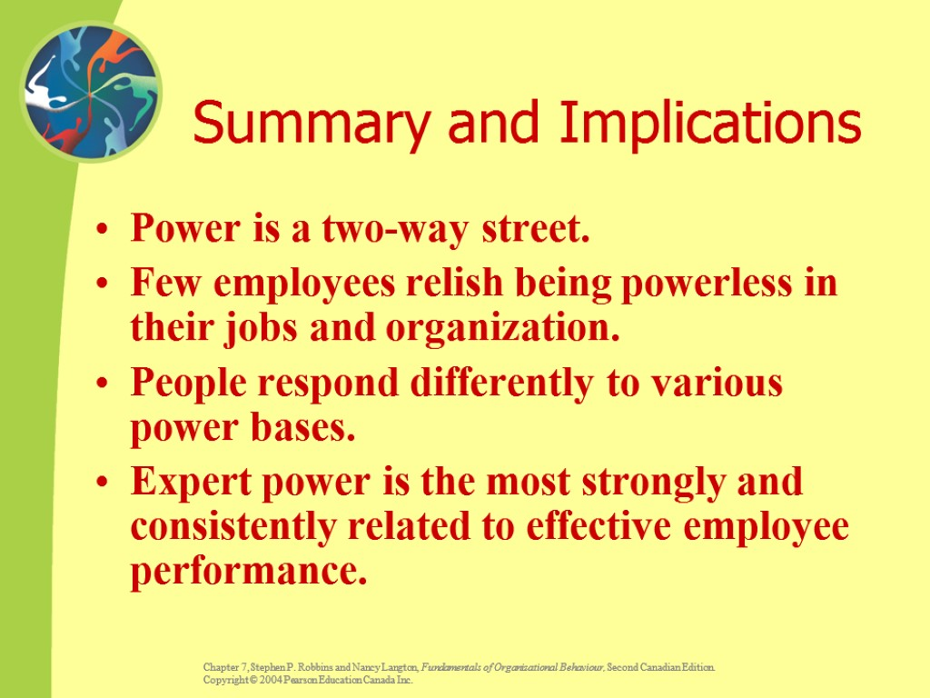 Summary and Implications Power is a two-way street. Few employees relish being powerless in