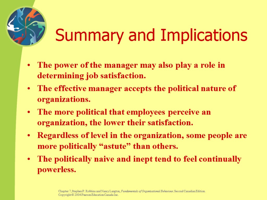 Summary and Implications The power of the manager may also play a role in