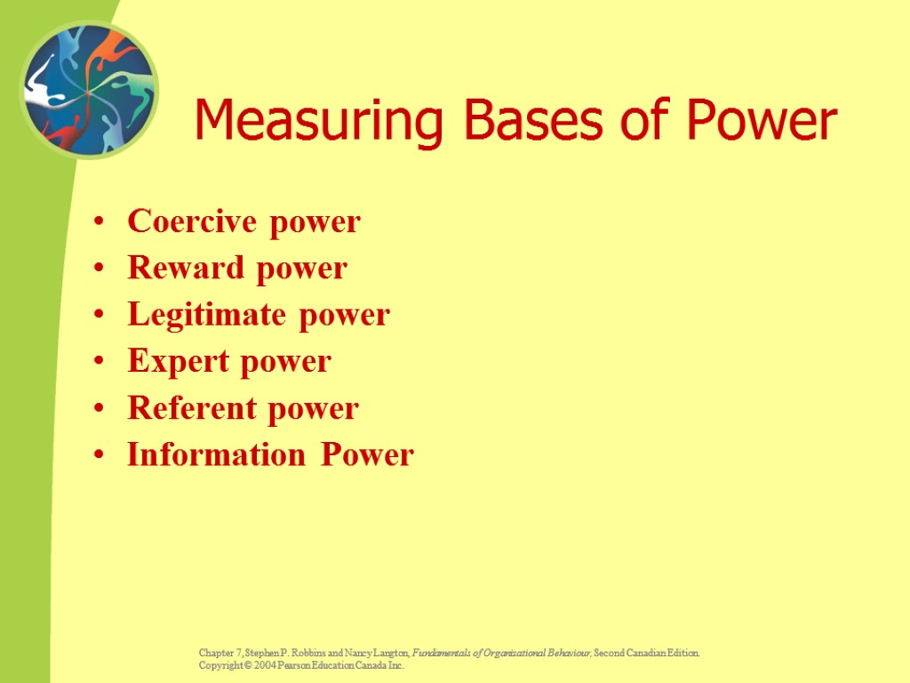 Measuring Bases of Power Coercive power Reward power Legitimate power Expert power Referent power