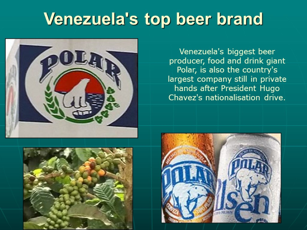 Venezuela's top beer brand Venezuela's biggest beer producer, food and drink giant Polar, is