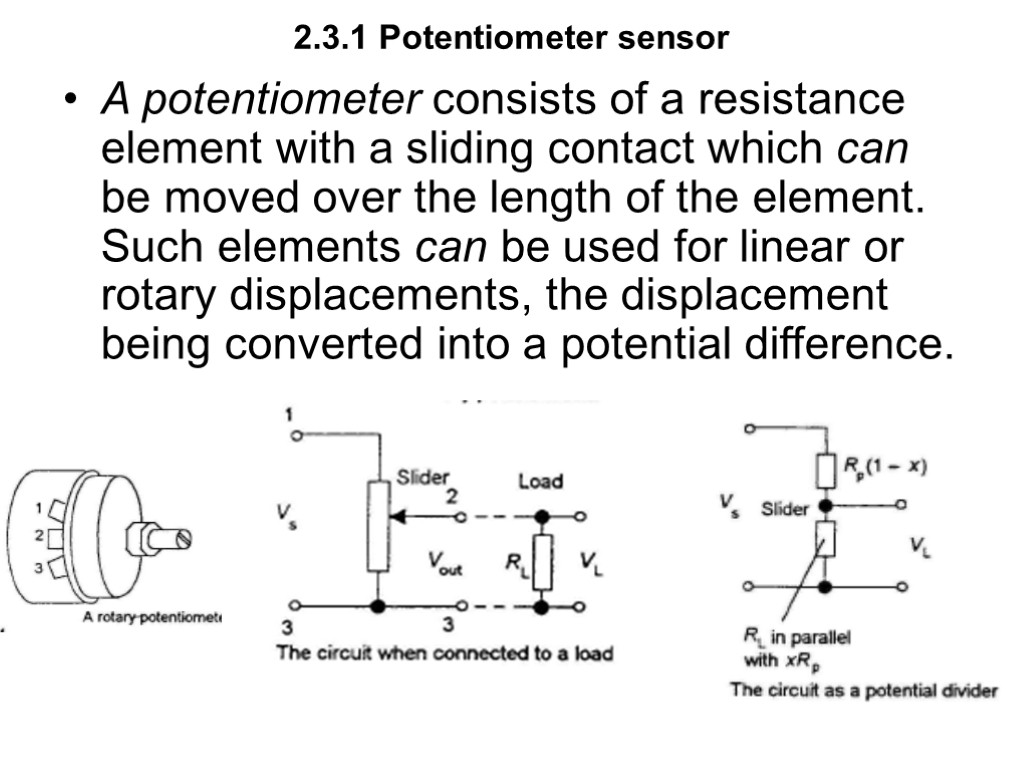 Potentiometer Sensor 2 3 1 A Potential Divider Circuit 231 Consists Of Resistance Element With Sliding Contact