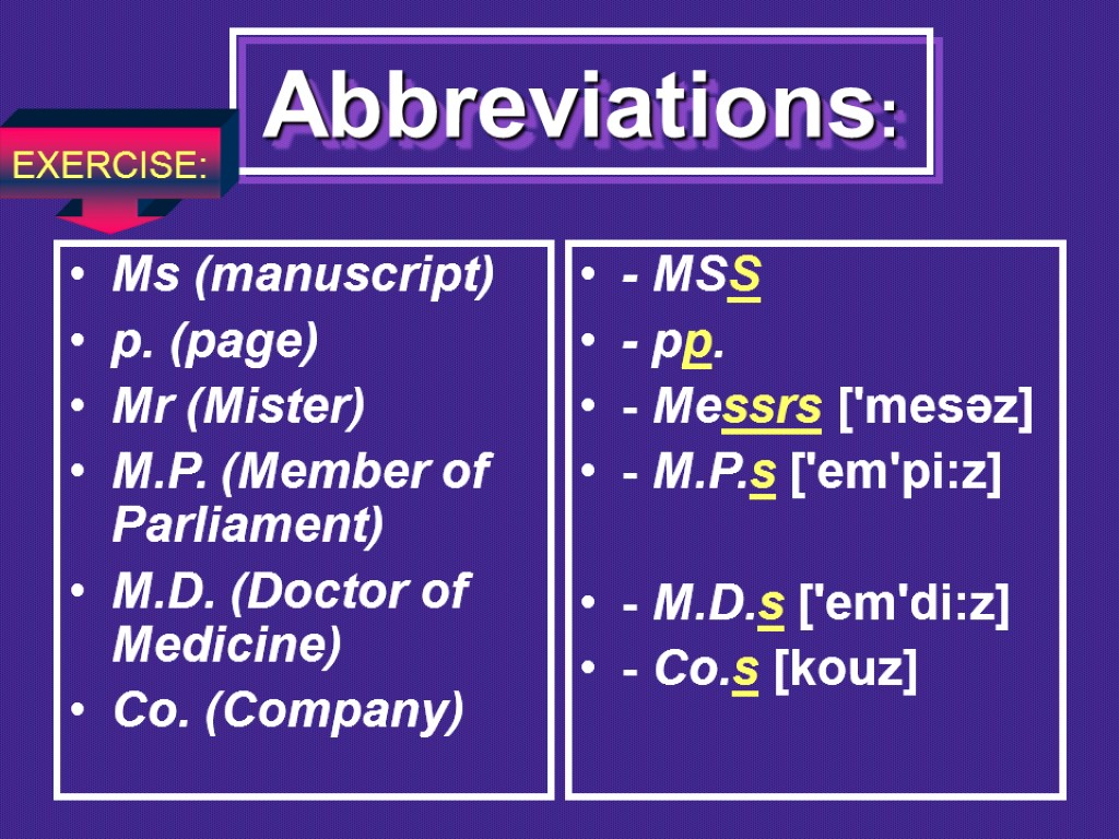 Abbreviations: Ms (manuscript) p. (page) Mr (Mister) M.P. (Member of Parliament) M.D. (Doctor of