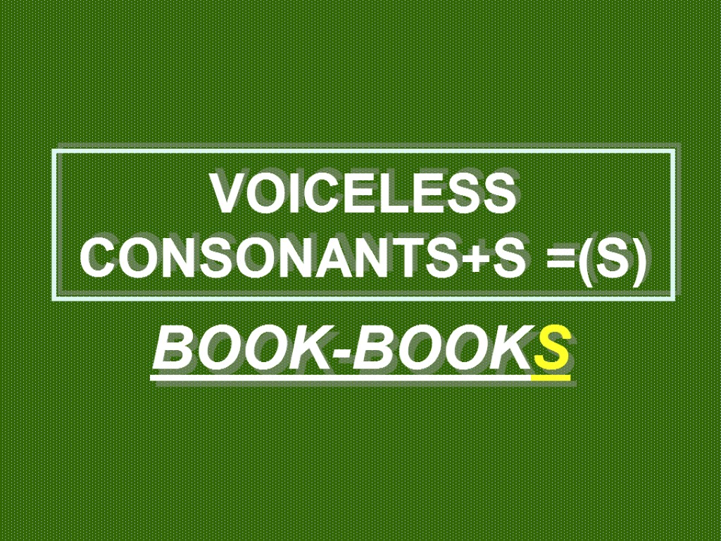 >VOICELESS CONSONANTS+S =(S) BOOK-BOOKS