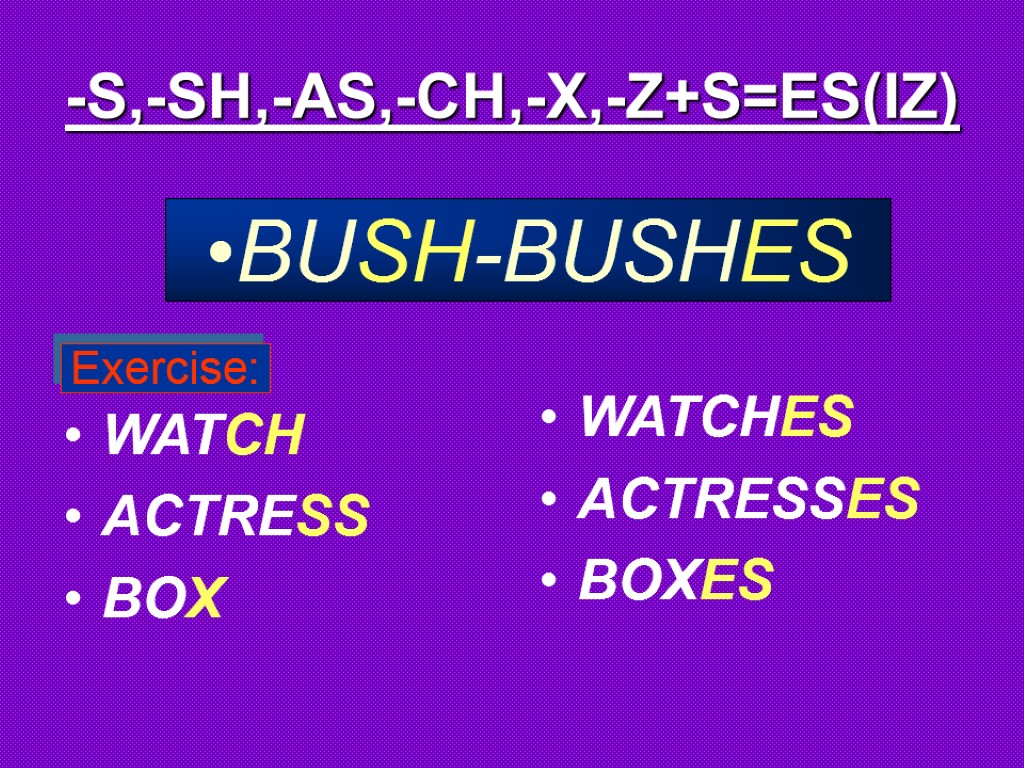 -S,-SH,-AS,-CH,-X,-Z+S=ES(IZ) WATCH ACTRESS BOX WATCHES ACTRESSES BOXES BUSH-BUSHES Exercise: