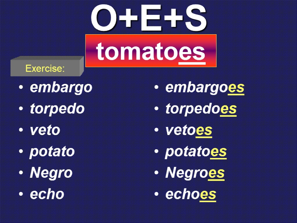 O+E+S embargo torpedo veto potato Negro echo embargoes torpedoes vetoes potatoes Negroes echoes tomatoes