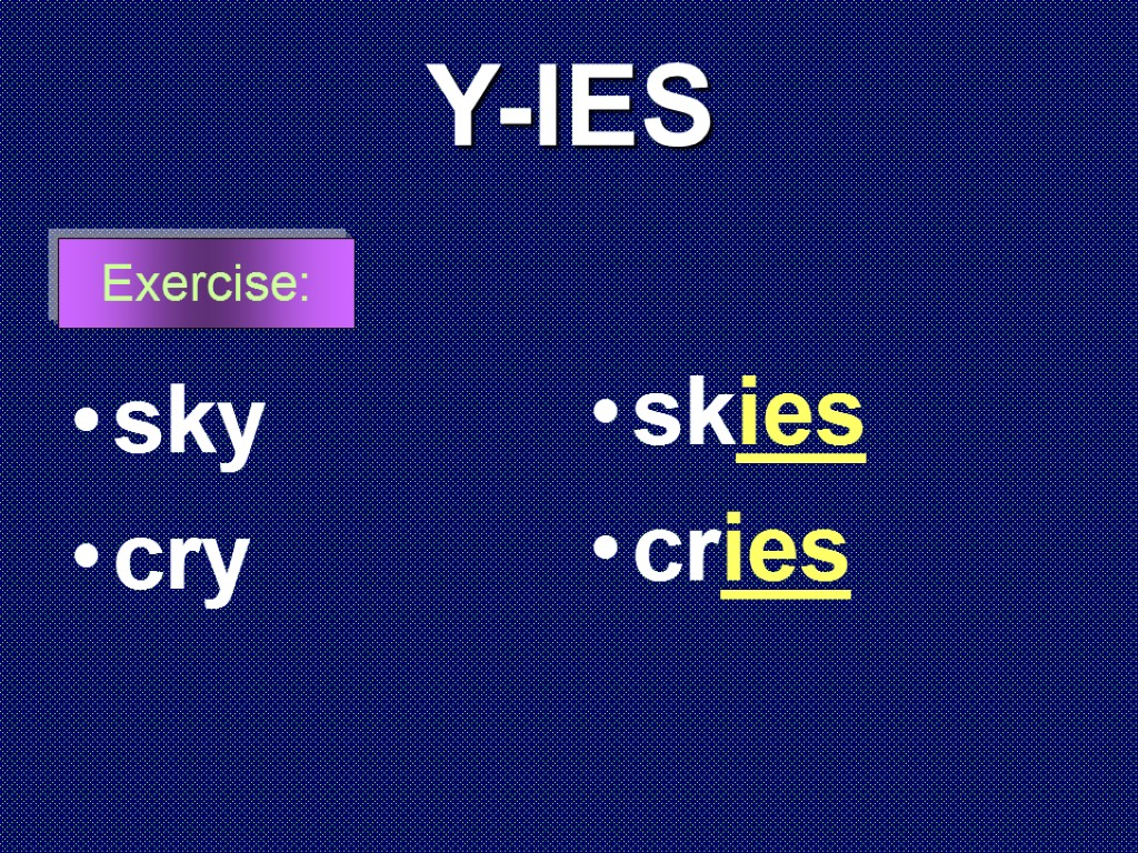 Y-IES sky cry skies cries Exercise: