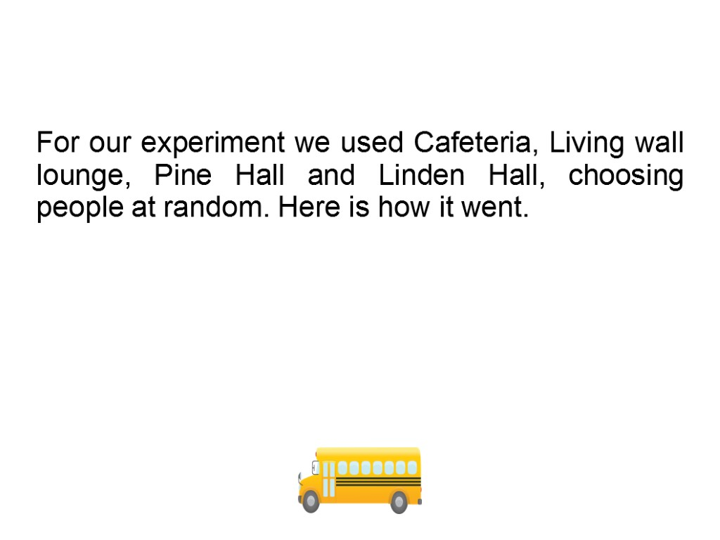 For our experiment we used Cafeteria, Living wall lounge, Pine Hall and Linden Hall,
